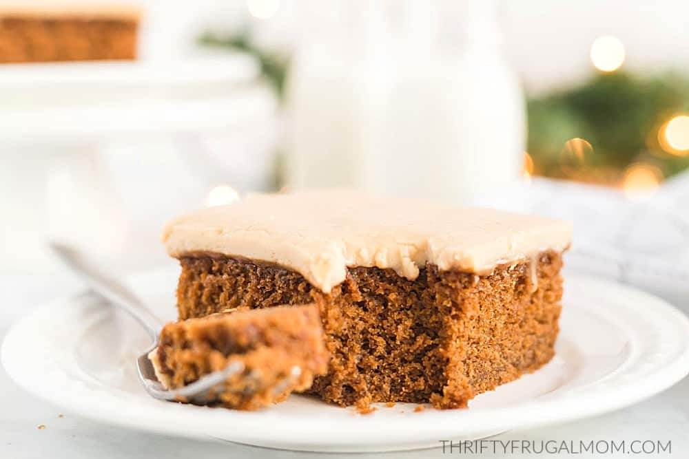 Easy Gingerbread Cake with caramel frosting