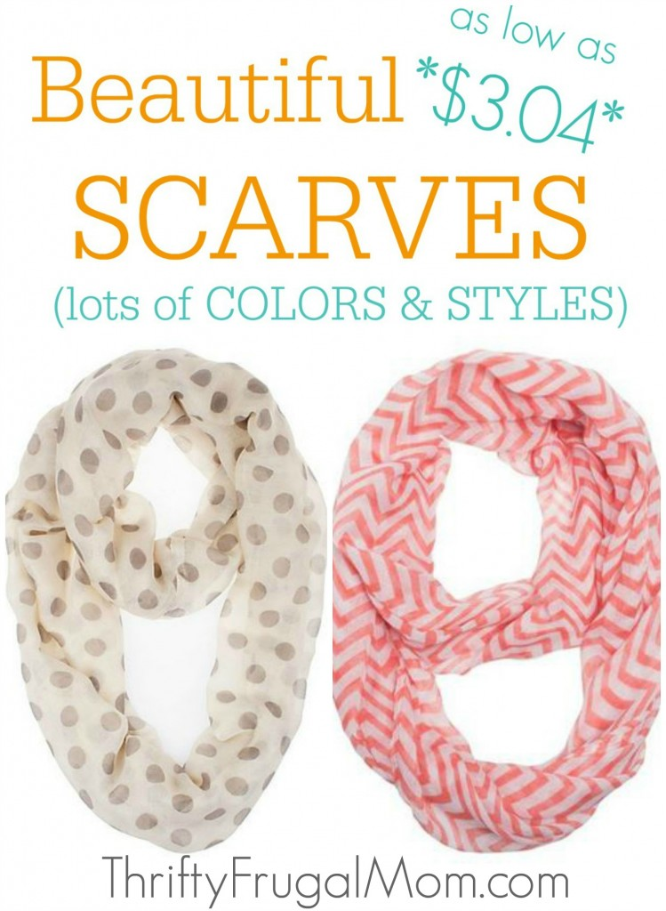 Beautiful Scarves as low as $3.04- a great, inexpensive way to spruce up your wardrobe! Lot of colors and styles to choose from.