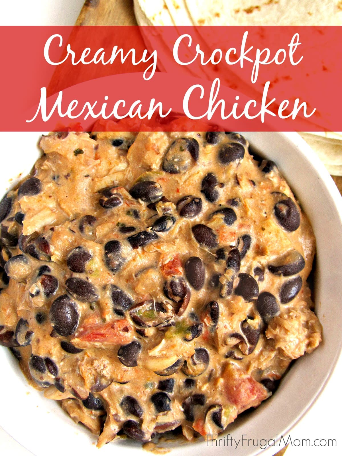 Short on time? This easy crockpot chicken recipe is one of the simplest recipes you'll ever make! Plus it's also delicious, filling and inexpensive. No wonder it's a favorite! #crockpot #thriftyfrugalmom #chickenrecipe #easyrecipe
