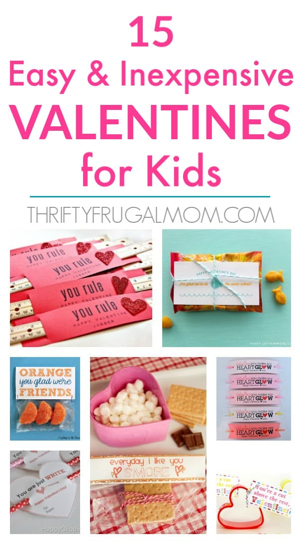 A super fun collection of easy and cheap Valentines for kids- includes both food and non-food ideas! #valentines #DIYvalentine #thriftyfrugalmom