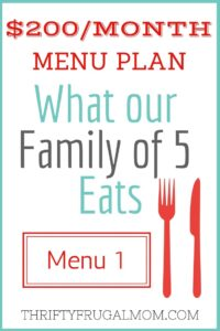 $200/Month Menu Plan for Our Family of 5 (Post #1)