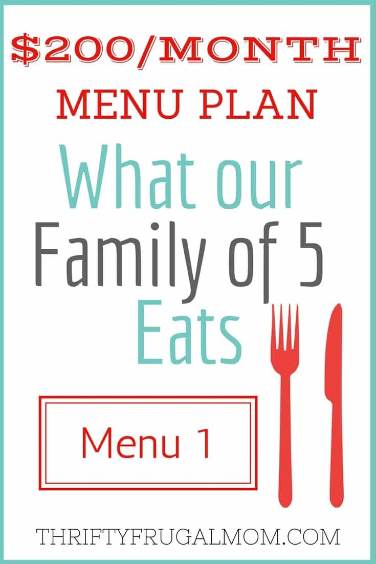Wonder what in the world we eat on a $200 grocery budget? Here's our frugal menu plan for the last two weeks. It shows exactly what our family of 5 ate! #menu planning #familyof5 #mealsonaubudget #thriftyfrugalmom
