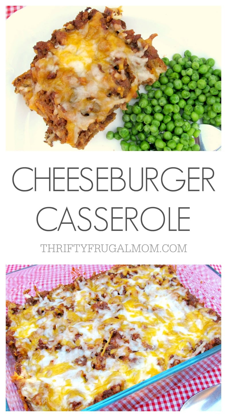 All the delicious flavors of a cheeseburger rolled into one frugal, easy recipe. This Cheeseburger Casserole is a definite hit with the whole family!