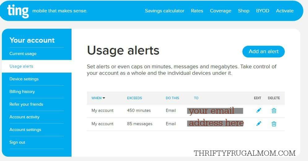 Ting usesage alerts