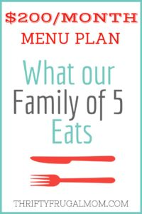 $200/Month Menu Plan for Our Family of 5 (Post #2)