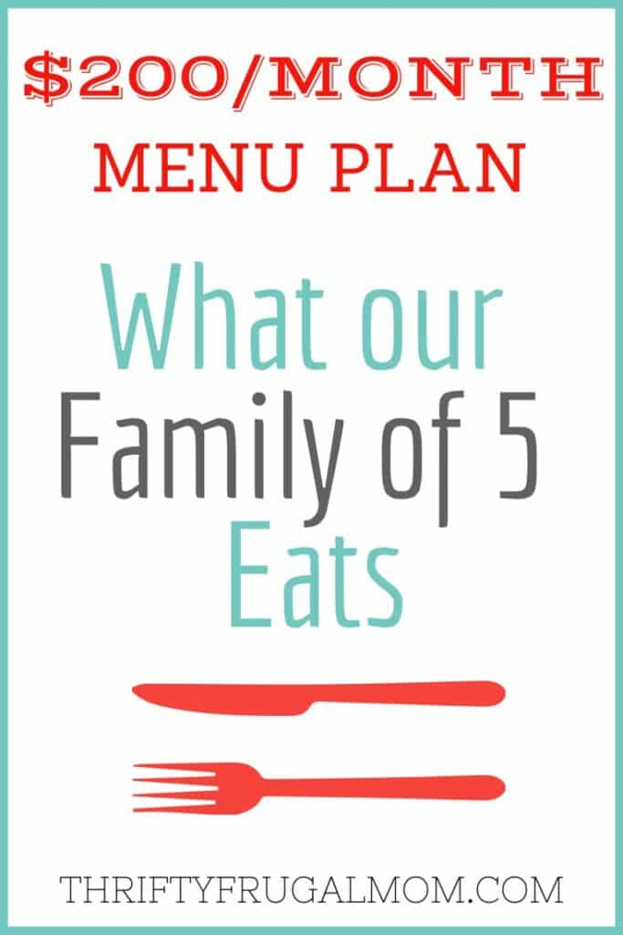 $200 Menu Plan-What Our Family of 5 Eats- best frugal living posts
