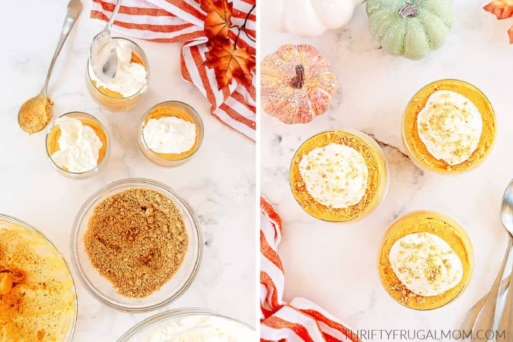 two photos showing how to assemble Pumpkin Cheesecake Trifles