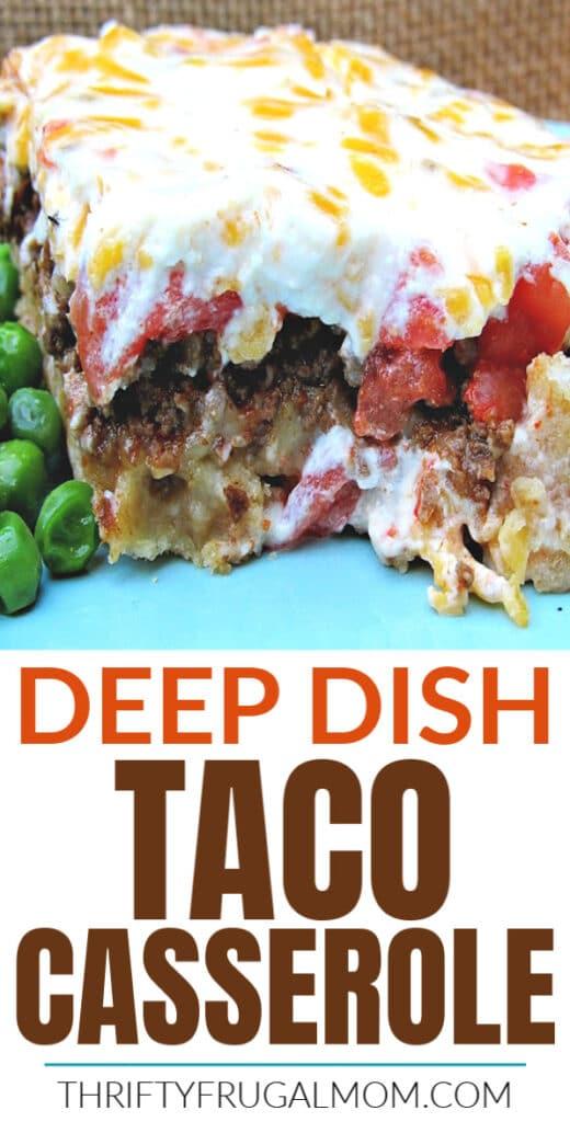 deep dish taco casserole on a blue plate with peas