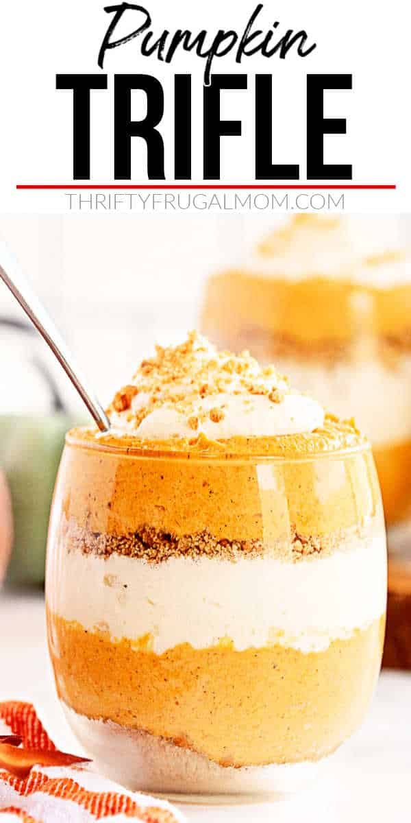 No bake pumpkin trifle in a glass cup with a spoon
