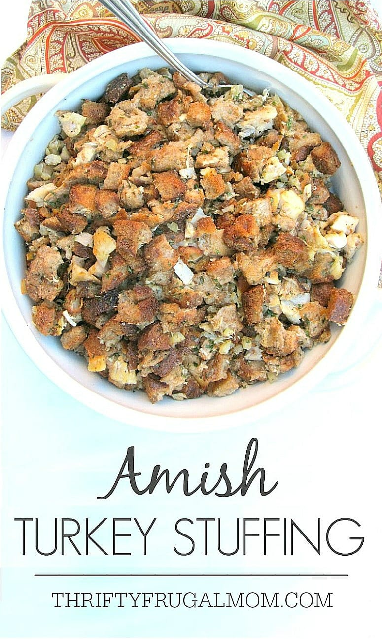 Need an easy way to use up leftover turkey? Try this Amish Turkey Stuffing recipe! You can even freeze it to have for an easy meal later.
