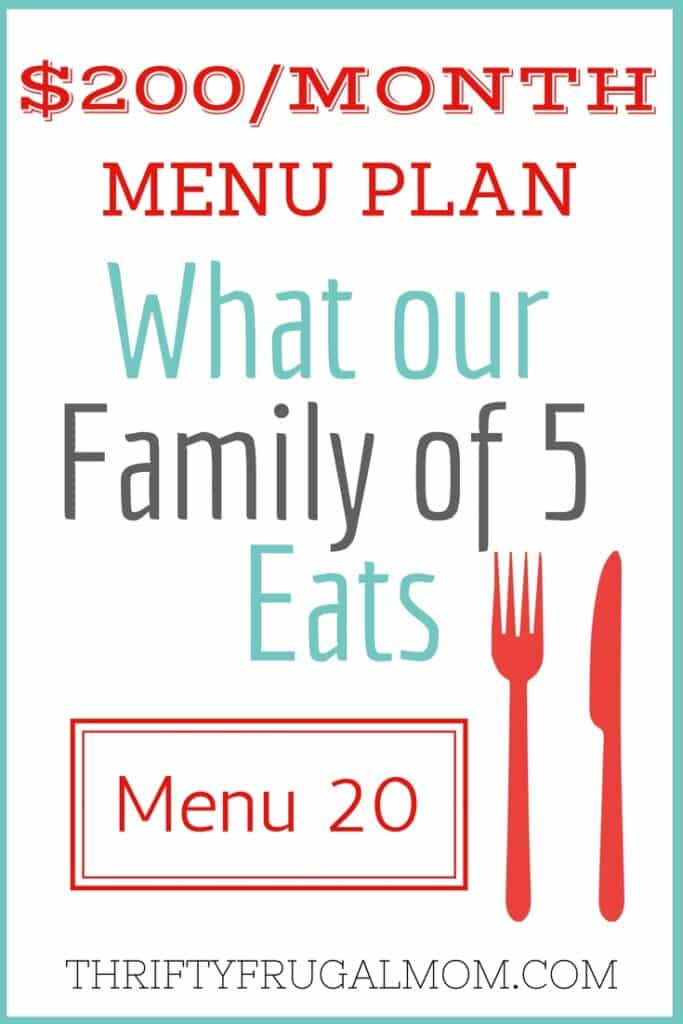 Cheap Menu Plan with Frugal Meals