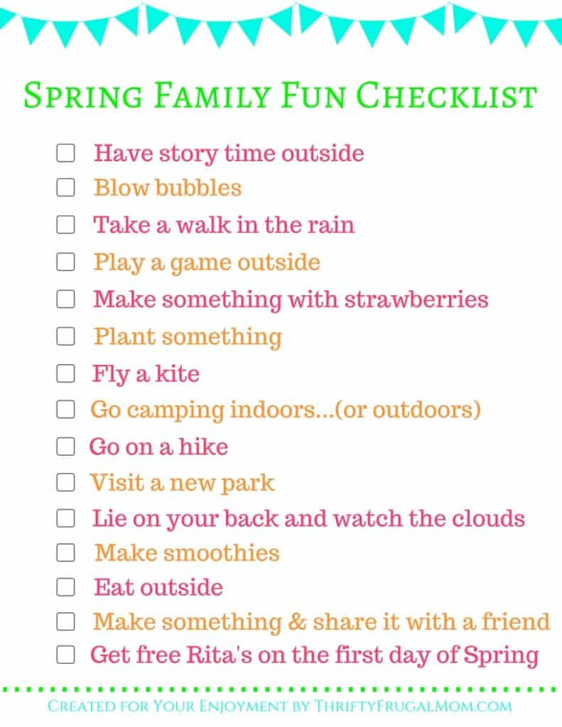 Spring Family Bucket List- free printable!