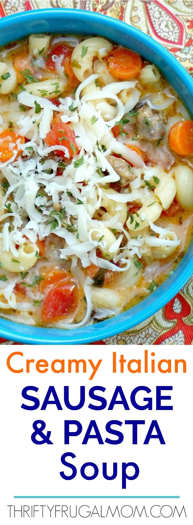 This Creamy Italian Sausage and Pasta Soup is absolutely amazing!  It's loaded with flavor and so hearty and delicious.  The perfect family friendly meal!