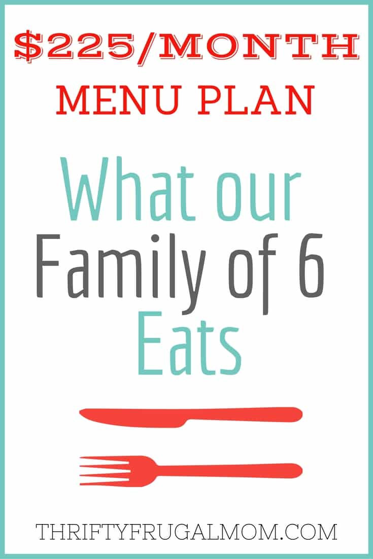 Trying to plan some frugal meals for your family? This is the menu plan that our family of 6 uses! It's perfect for cheap meal ideas.