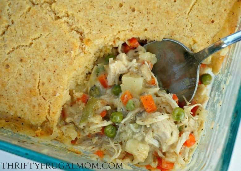 Easy Chicken Pot Pie- perfect for nights when you need a quick, cheap dinner recipe. It's hearty, super delicious and has become a family favorite!