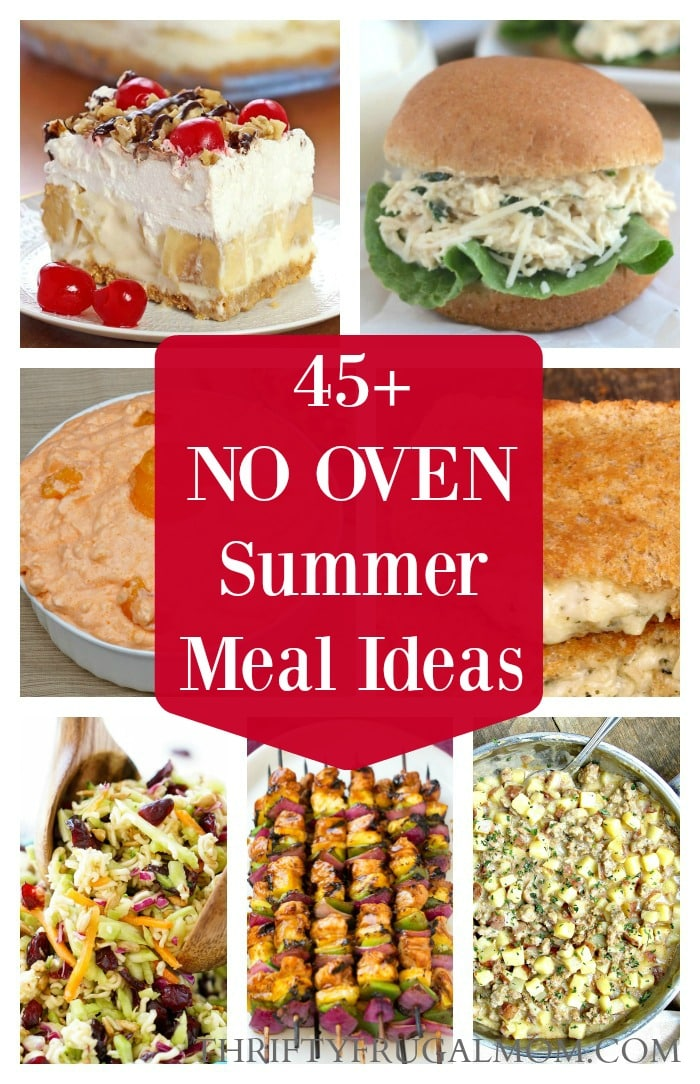 a photo collage of no oven summer meal ideas