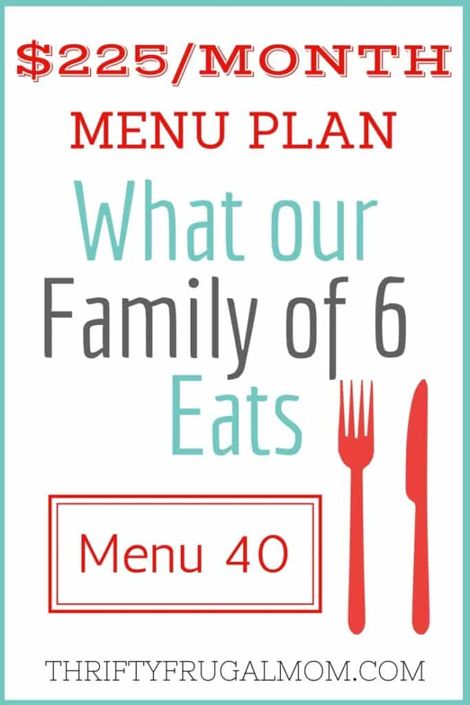 Menu Plan with Frugal Meals for Families