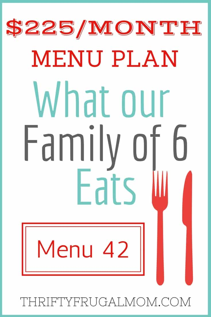 Looking for frugal family meals? Here's the menu our family of 6 used recently and we have a $225/mo. grocery budget and these meals were all enjoyed by our kids.