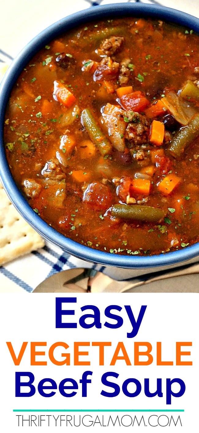 a bowl of easy vegetable beef soup with crackers beside it