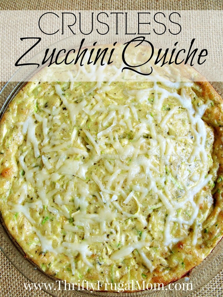 This easy meatless Crustless Zucchini Quiche recipe is a delicious way to use up zucchini. Plus it's frugal, too! #thriftyfrugalmom