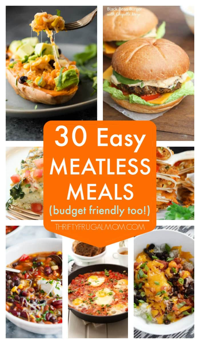Lower your grocery budget with these easy meatless meals! They're cheap, simple to make, healthy and mostly family friendly too. #meatlessmonday #meatlessrecipefordinner #meatfree #thriftyfrugalmom