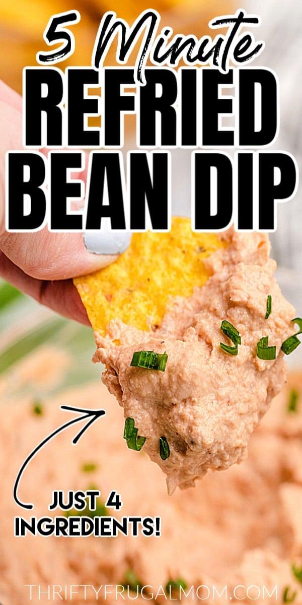 homeamade refried bean dip on a tortilla chip