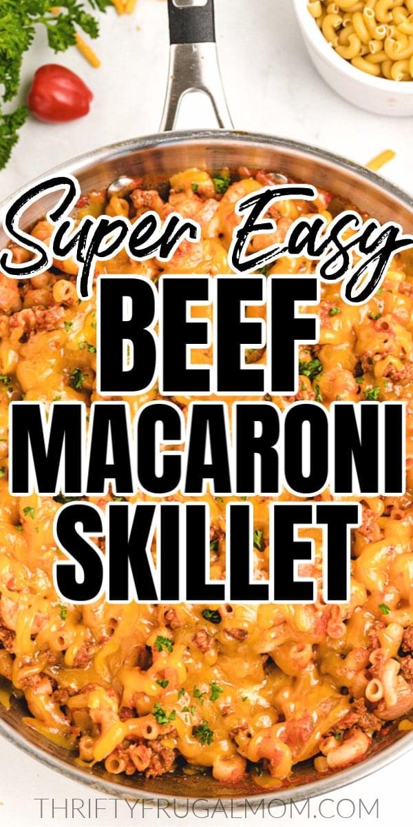 macaroni beef skillet recipe in pan