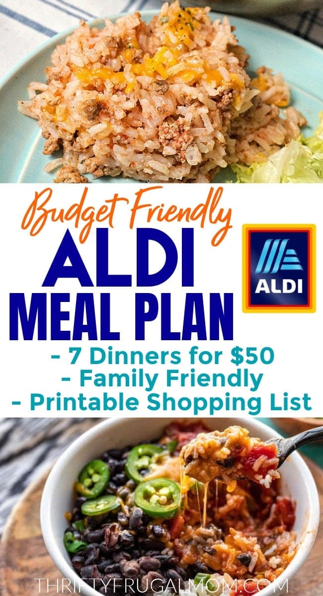Budget Aldi Meal Plan with photos of rice and hamburger and a rice bowl recipe
