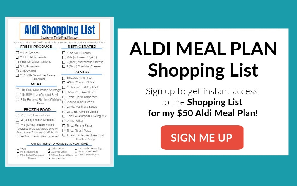 Sign up form for a Free Printable Aldi Meal Plan Shopping List