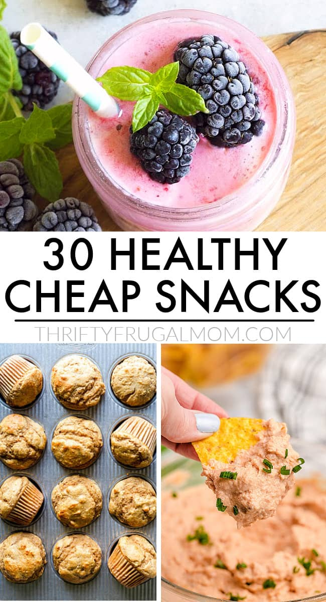 a collage of cheap healthy snack ideas- smoothie, refried bean dip and banana muffins