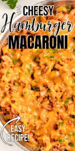 cheesy hamburger macaroni in a skillet