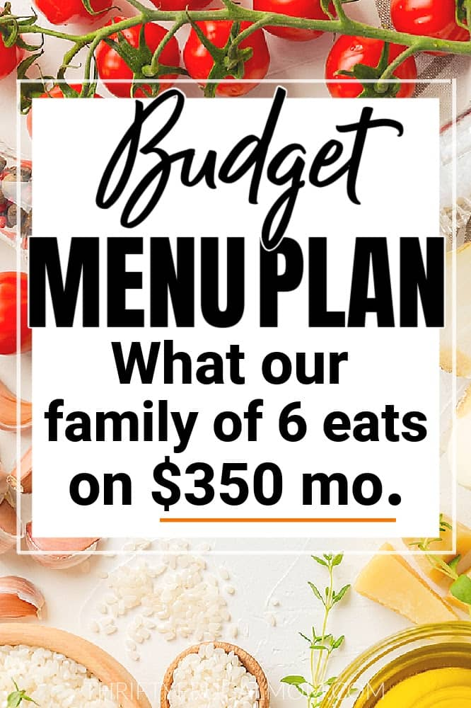 Tomatoes, cheese and herbs and on top of that the words Budget Menu Plan (what our family of 6 eats on $350 mo.