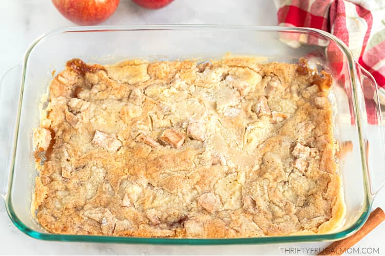 baked from scratch apple dump cake in glass baking dish