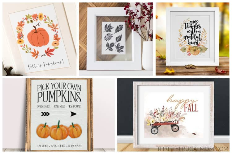 a collage of fall printables that can be used for free wall art
