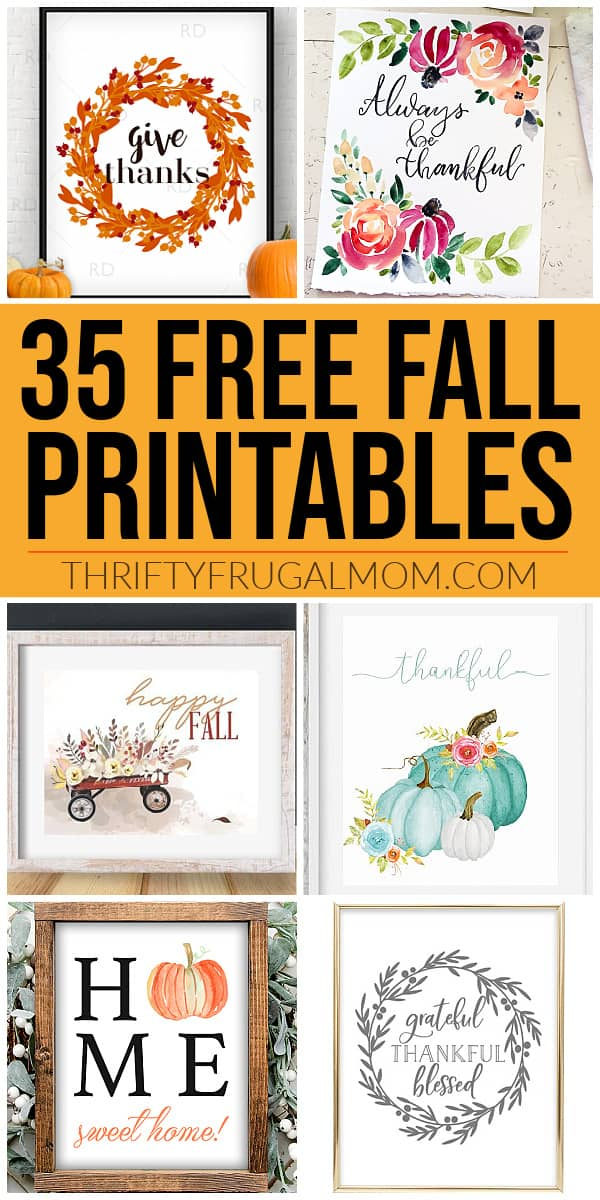 A collage of free fall printables for decorating your home