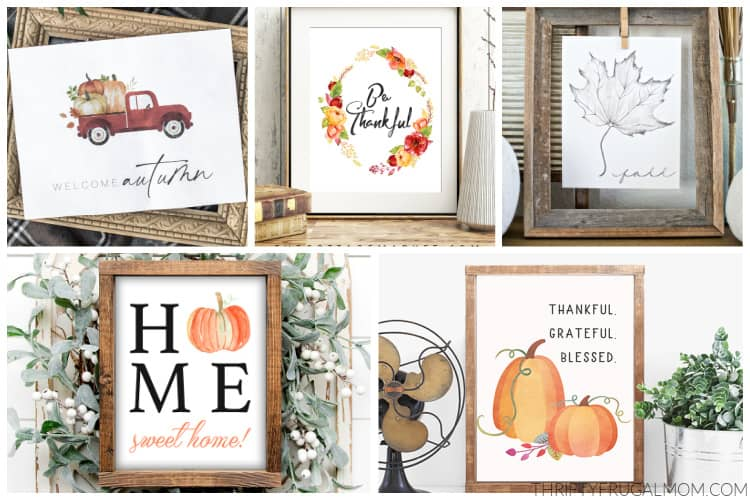 a collage of free autumn printables- welcome autumn, thankful grateful blessed and more