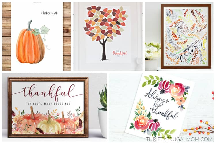 a collage of free fall printable wall art