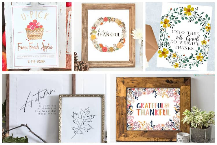 a collage of free printables for fall including farmhouse prints