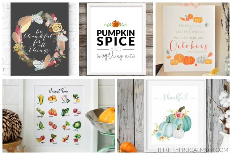 a collage of free fall printables for decor