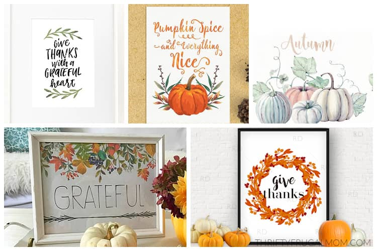 a collage of free fall printables including prints with pumpkins and leaves