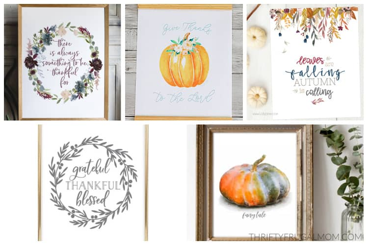 a collage of free fall printables including watercolor prints