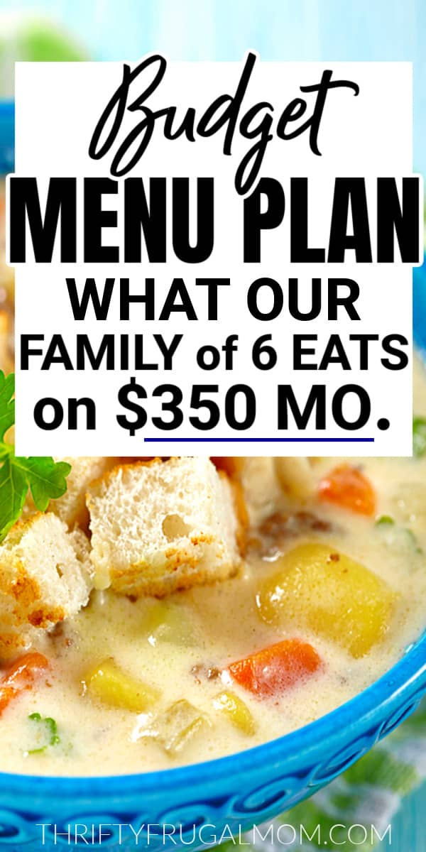 a bowl of soup with the words Budget Menu Plan what our family of 6 eats in $350 Mo.
