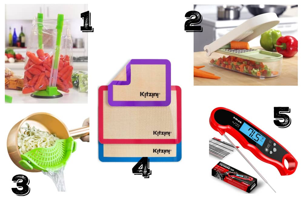 a collage of some of the best inexpensive kitchen gifts