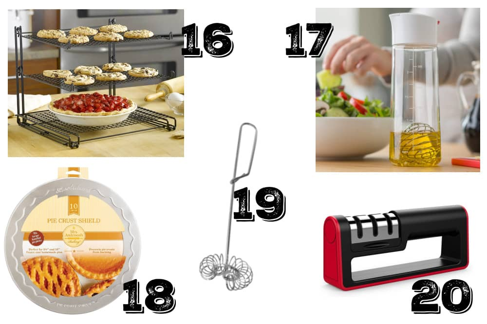 a collage of cheap useful kitchen gifts for cooks and bakers