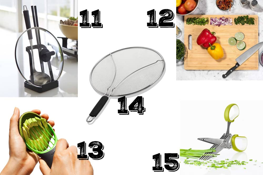 a collage of frugal kitchen gifts for moms - cooks and bakers