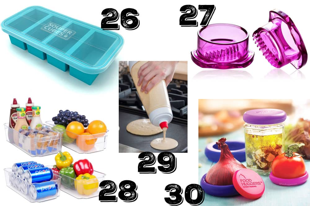 a collage of frugal kitchen gifts for bakers