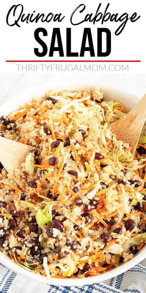 a bowlful of Quinoa Cabbage Salad in a white bowl