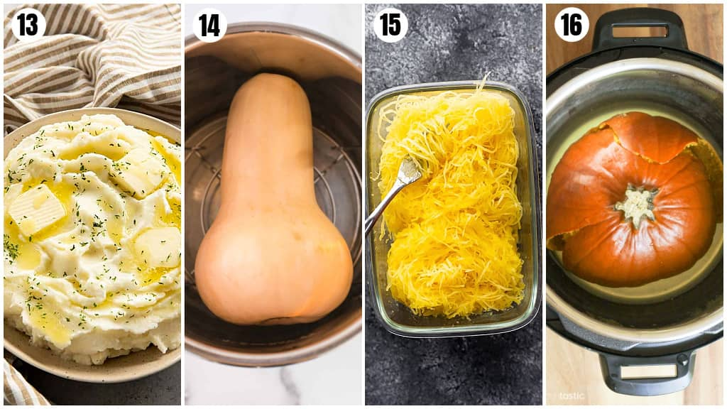 a collage of the best first recipes to make in your Instant Pot- mashed potatoes, butternut squash, spaghetti squash and pumpkin