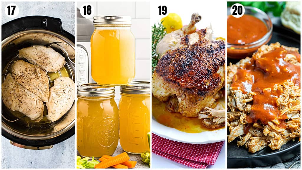a collage of the best Instant Pot Beginner Recipes- chicken breast, chicken stock, rotisserie chicken and pulled pork