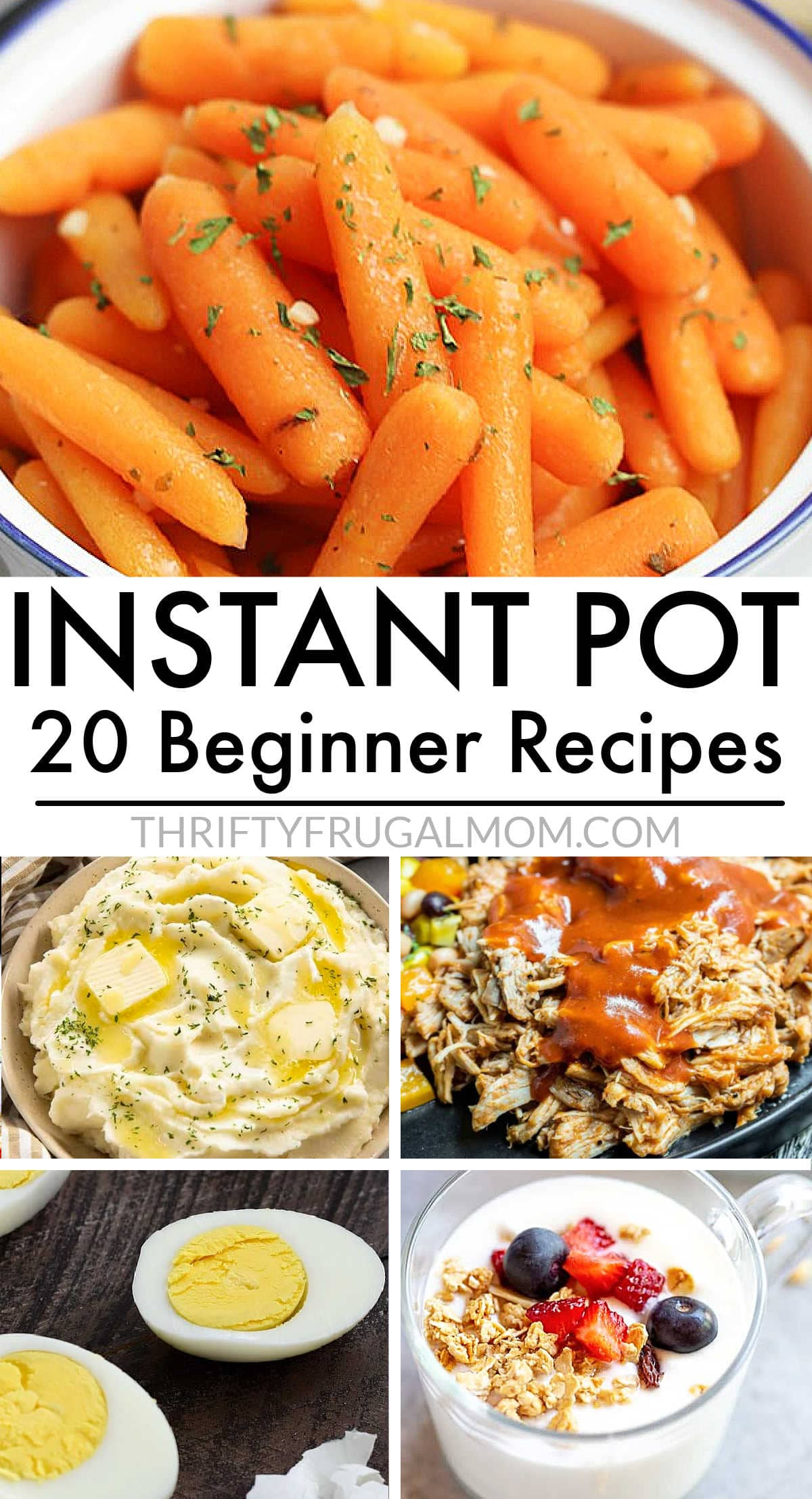 a collage of easy Instant Pot beginner recipes- hard boiled eggs, carrots, mashed potatoes, pulled pork and yogurt